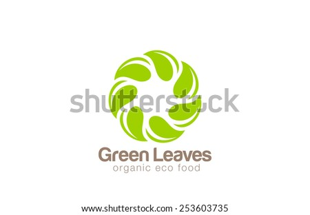 Infinite Green Eco Logo design looped leaf circle vector template.  Organic product Logotype icon. Ecology infinity loop concept. - stock vector