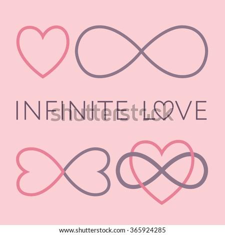 Infinite love symbol set, endless love sign, two hearts, vector illustration - stock vector