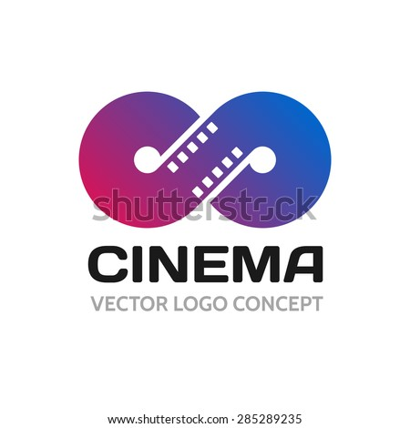 Infinite strip of film. Conceptual logo - stock vector