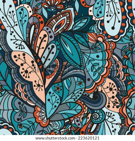 Infinite surface with intricate patterns. Vector illustration on the basis of graphics.  - stock vector