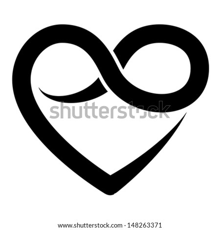 Infinity heart symbol, forever, vector  - stock vector