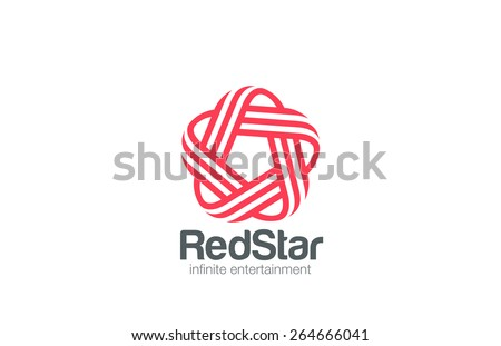Infinity Loop Star Logo design vector template Line art style. Infinite Looped 5 five point star Logotype concept. Pentagon icon. - stock vector