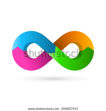Infinity loop symbol logo icon design template with arrows. Vector color emblem sign. - stock vector