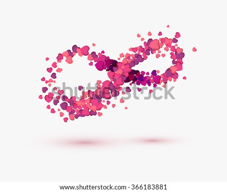 Infinity Love Symbol Hearts On White Stock Vector 366183881