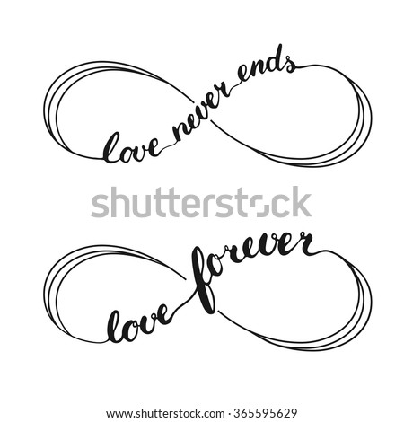 Infinity love symbol tattoo. Hand written calligraphy lettering text for invitation and greeting card for Valentines Day. - stock vector