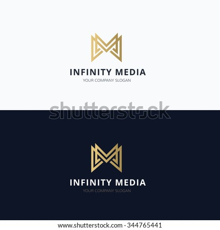 Infinity media,M letter logo,Vector Logo Template - stock vector