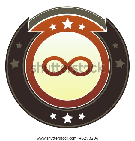 Infinity or math symbol icon on round red and brown imperial vector button with star accents - stock vector