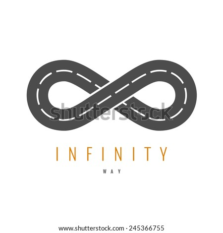 Infinity road logo. Loop way symbol. - stock vector