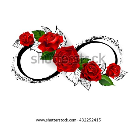 infinity symbol with red roses and black stalks on a white background. Design with roses. Tattoo style. Gothic style.  Tribal graphics. Style sketch. - stock vector