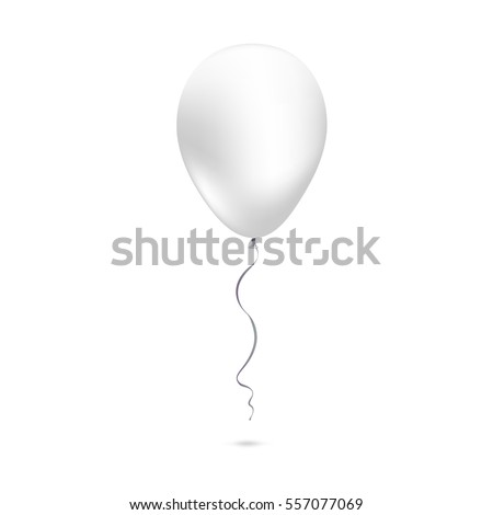 Inflatable air flying balloon isolated on white background. Close-up look at white balloon with reflects. Realistic 3D vector illustration
