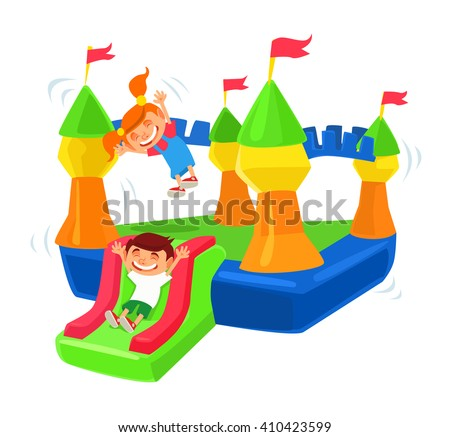 Inflatable castle trampoline. Vector flat cartoon illustration - stock vector