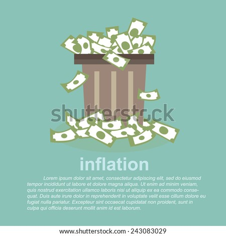 inflation - full  money in a dustbin  - stock vector