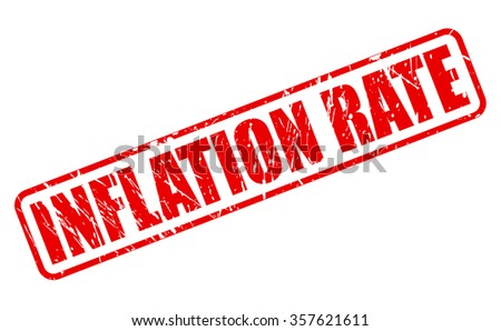 INFLATION RATE red stamp text on white - stock vector