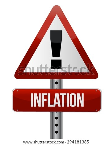 inflation warning sign concept illustration design graphic - stock vector