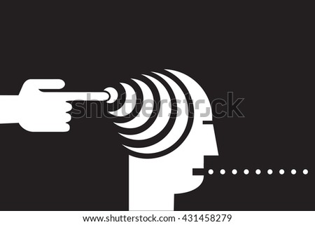 influential mind control  - stock vector