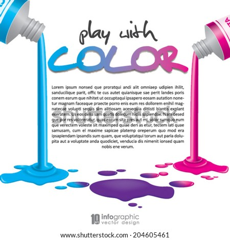 info graphic background - CMYK color tubes - stock vector