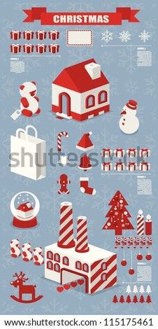 info graphic, Christmas elements - stock vector
