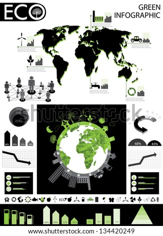 info graphic collection- black and green illustration concept on simple white background. Displaying set of icons, symbols, world map, statistic charts... - stock vector