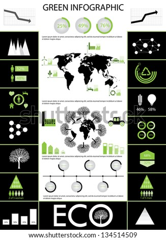 Info graphic collection of Eco icons in black and green color- set of charts, diagrams, world maps and human features