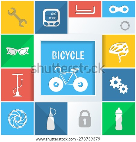 Info graphic colorful background with bicycle icons vector illustration - stock vector