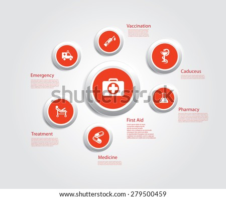 Info graphic composition with medic icons. - stock vector