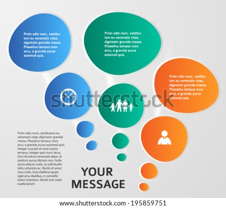 Info-graphic design element with communication bubbles isolated on the gray background. Vector abstract illustration Eps 10 for front page magazine or cover book / web banner template - stock vector
