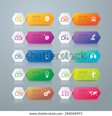 Info graphic design template and marketing icons, Business concept with 10 options, parts, steps or processes. Can be used for workflow layout, diagram, number options, web design.    - stock vector
