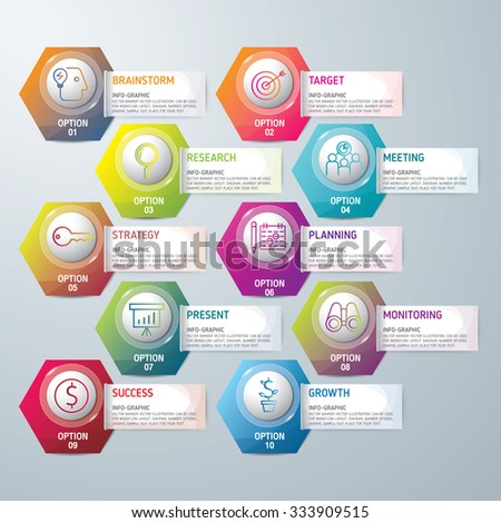 Info-graphic design template and marketing icons, Business concept with 10 options, parts, steps or processes. used for work-flow layout, diagram,banner, number options, graphic or web design. - stock vector