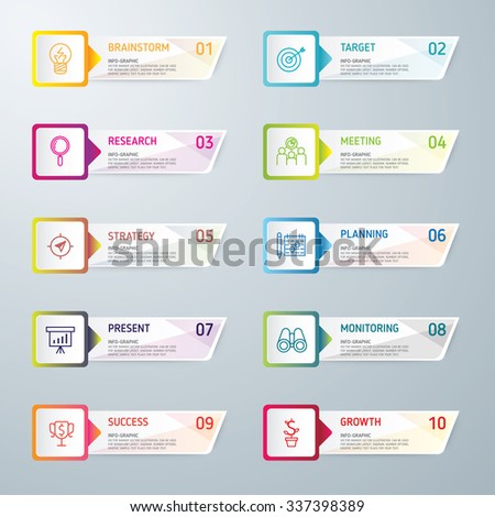 Info-graphic design template and marketing icons, Business concept with 10 options, parts, steps or processes. used for work-flow layout, diagram, banner, number options, graphic or web design. - stock vector