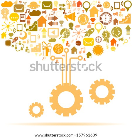 Info graphic design template with gear chain. Social network background with media icons - stock vector
