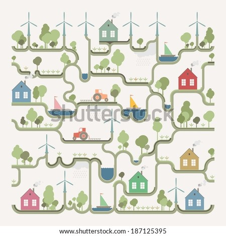 Info graphic -Eco structure - stock vector