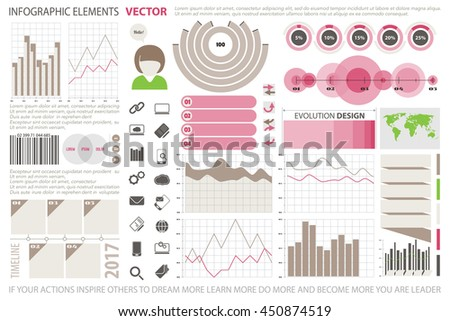 info graphic elements, web technology icons. vector time line diagram, arrow symbol. world map, pie chart icon. financial statistic and marketing report presentation. business banner template - stock vector