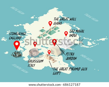 Info graphic illustration vector isometric design stock vector info graphic illustration vector isometric design concept of wonders of the world on world map gumiabroncs Choice Image
