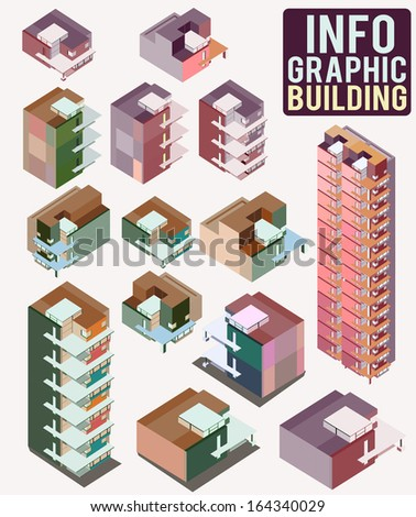 info graphic of city building. set of vector tall buildings on a white background - stock vector