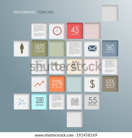Info graphic squares web elements template - stock vector
