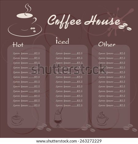 Info graphic Template Coffee House Illustration for Background or backdrop Coffee  Menu   - stock vector