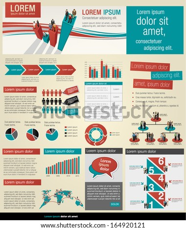 Info graphic template with business people  - stock vector