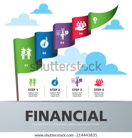 info graphic Template with colorful flag banner for business, marketing, creative, web design and graphics