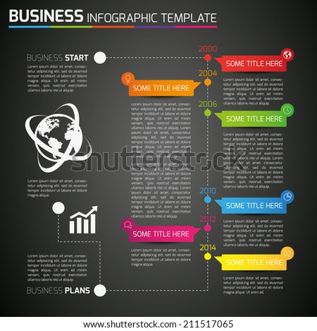 Info graphic time-line template with icons, dark background, 6 steps