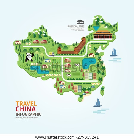 Info graphic travel and landmark china map shape template design. country navigator concept vector illustration / graphic or web design layout. - stock vector