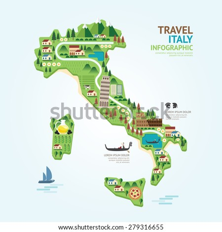 Info graphic travel and landmark Italy map shape template design. country navigator concept vector illustration / graphic or web design layout. - stock vector