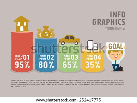 Info graphics Businessman dream concept - freehand drawing vector Illustration - stock vector