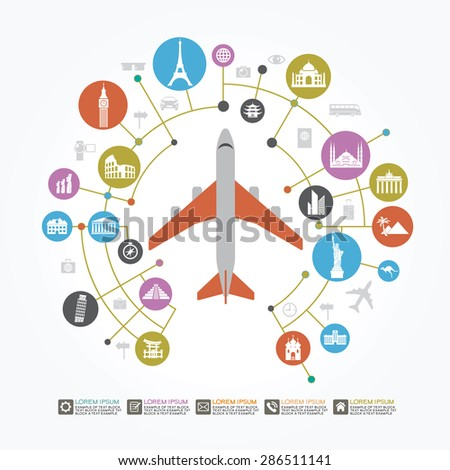 Info graphics elements: Travel and Famous Landmarks. Travel concept with stylish icons. - stock vector