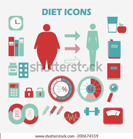Info graphics health diet. Set of diet icons. Healthy lifestyle concept - stock vector