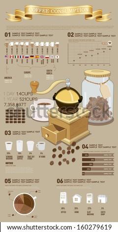 info graphics leisure coffee - stock vector