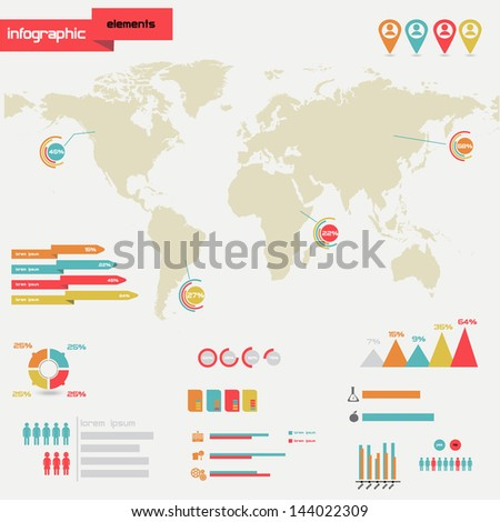 Info graphics set 2. World Map and Information Graphics - stock vector