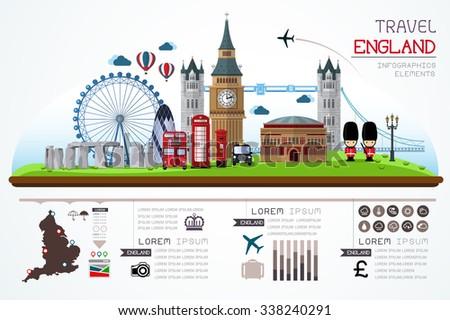 Info graphics travel and landmark england template design. Concept Vector Illustration - stock vector