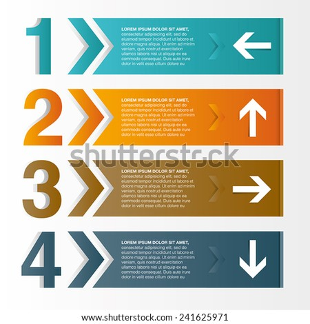 Info-graphics vector design template with digits and arrows - stock vector