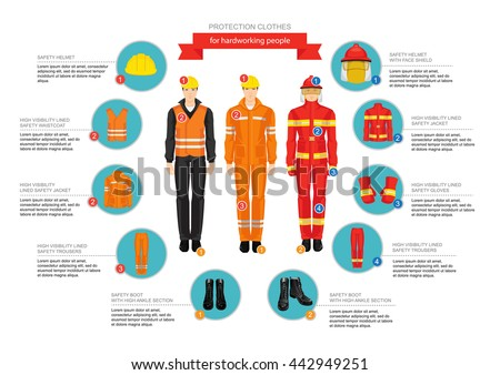 info graphics with professional work wear for hard-working people. Safety clothes and helmet. High visibility lined jacket, trousers and waistcoat - stock vector