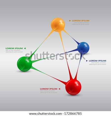 infografic template with color balls, vector eps 10 illustrator - stock vector